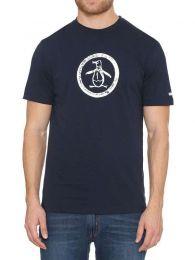 Original Penguin Distressed Circle Logo T-shirt Dark Saphire