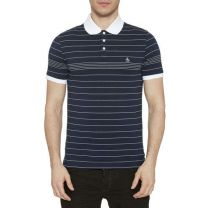 Original Penguin Engineered Fine Stripe Polo Shirt Dark Saphire