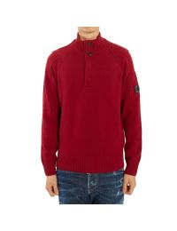 C.P. Company Lambswool Lens Half Button Sweater Beet Red