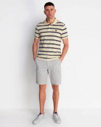 Lyle & Scott Wide Double Stripe Polo Shirt Buttercream