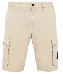 Stone Island L07WA Old Dye Treatment Bermuda Cargo Shorts Dark Beige