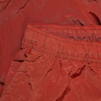 Stone Island Garment Dyed Nylon Metal Patch Logo Swim Short Red