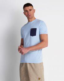 Lyle & Scott Contrast Pocket Tee  Pool Blue / Navy