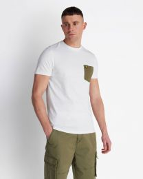 Lyle & Scott Contrast Pocket Tee White / Lichen Green