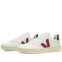 Veja Womens V-12 Leather Sneaker White, Burgundy & Navy