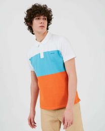 Woolrich Color Block Stripe Polo Shirt Marine
